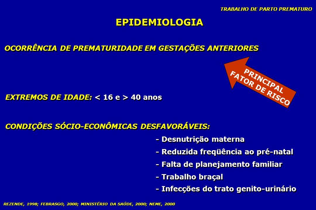 TRABALHO DE PARTO PREMATURO EPIDEMIOLOGIA OCORRÊNCIA DE PREMATURIDADE EM GESTAÇÕES ANTERIORES EXTREMOS DE IDADE: 40 anos CONDIÇÕES SÓCIO-ECONÔMICAS DE