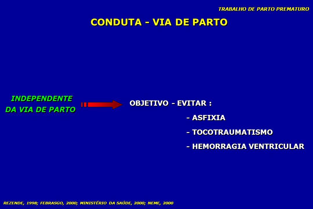 TRABALHO DE PARTO PREMATURO CONDUTA - VIA DE PARTO OBJETIVO - EVITAR : - ASFIXIA - TOCOTRAUMATISMO - HEMORRAGIA VENTRICULAR OBJETIVO - EVITAR : - ASFI