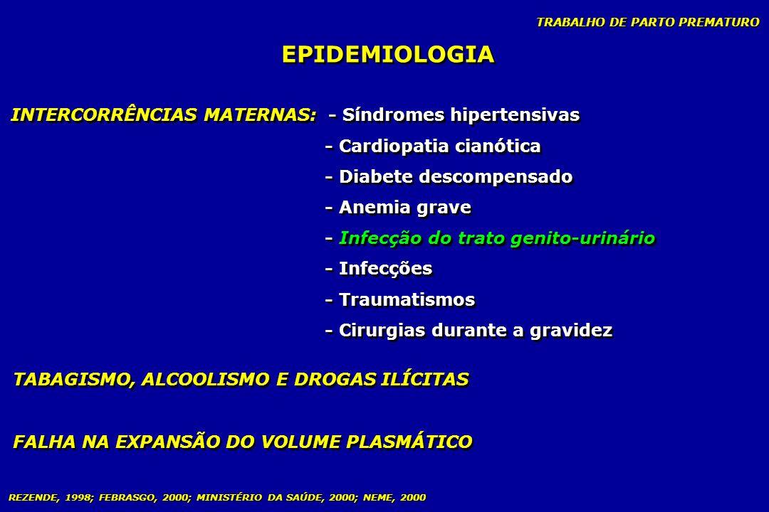 TRABALHO DE PARTO PREMATURO EPIDEMIOLOGIA INTERCORRÊNCIAS MATERNAS: - Síndromes hipertensivas - Cardiopatia cianótica - Diabete descompensado - Anemia