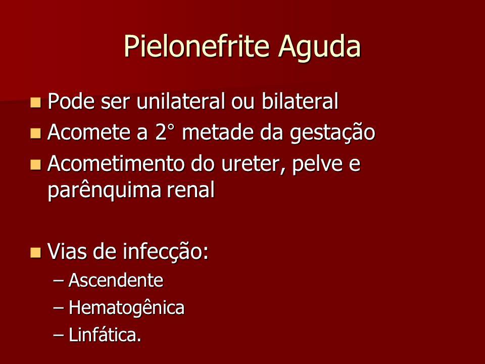 Pielonefrite Aguda Pode ser unilateral ou bilateral Pode ser unilateral ou bilateral Acomete a 2° metade da gestação Acomete a 2° metade da gestação A
