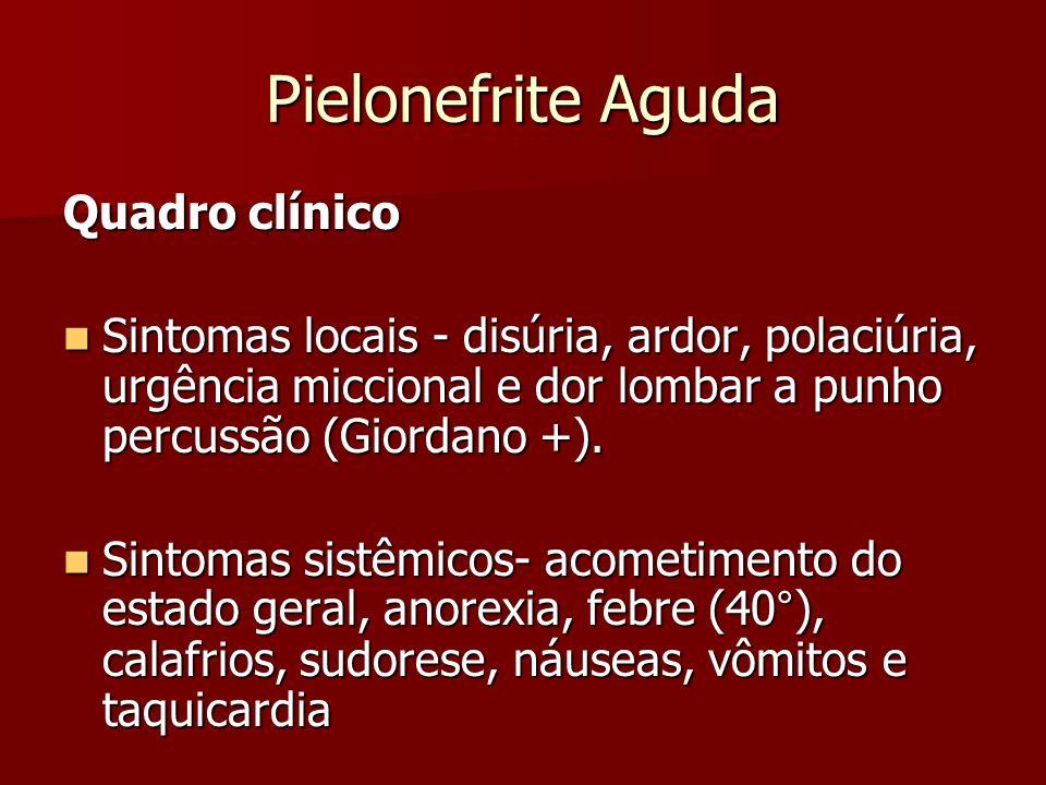 Pielonefrite Aguda Quadro clínico Sintomas locais - disúria, ardor, polaciúria, urgência miccional e dor lombar a punho percussão (Giordano +). Sintom