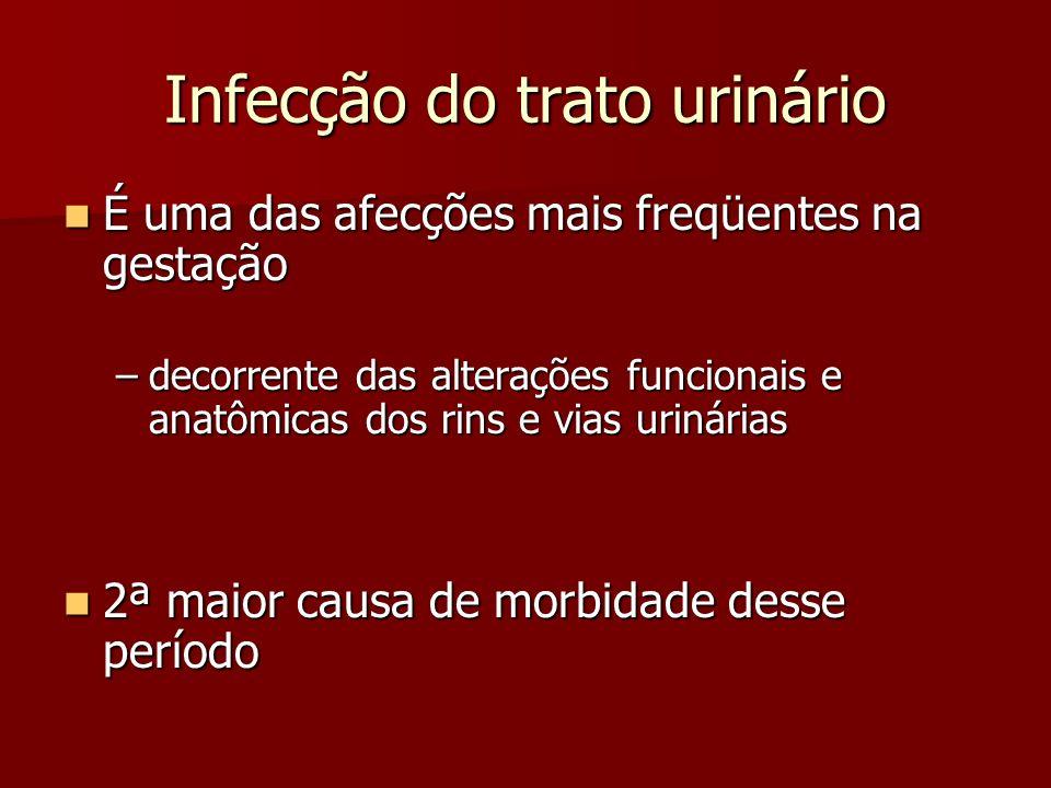 Infecção do trato urinário É uma das afecções mais freqüentes na gestação É uma das afecções mais freqüentes na gestação –decorrente das alterações fu