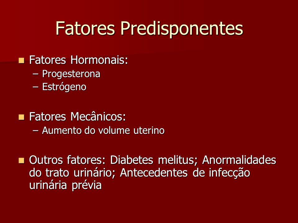 Fatores Predisponentes Fatores Hormonais: Fatores Hormonais: –Progesterona –Estrógeno Fatores Mecânicos: Fatores Mecânicos: –Aumento do volume uterino