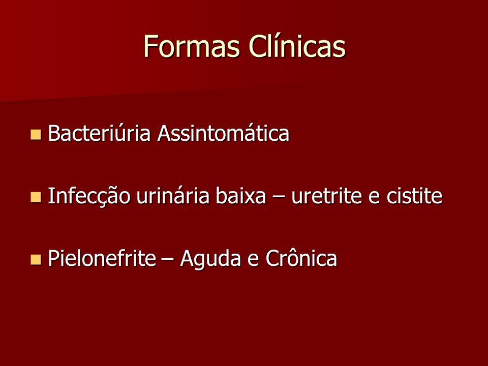 Bacteriúria Assintomática 100.000 UFC/mL de urina 100.000 UFC/mL de urina Forma clínica mais comum Forma clínica mais comum Não apresenta sinais e sintomas Não apresenta sinais e sintomas Tratamento: Tratamento: – Ampicilina – 0,5 a 1 g de 6/6 hrs –Amoxicilina – 1,5 a 2g/dia por 3 dias ou 3 g dose única – Nitrofurantoína – 100 mg 6/6 hrs por 3 dias –Cefalexina – 500 mg 6/6 hrs por 3 dias