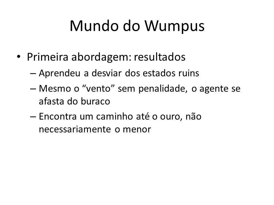 Mundo do Wumpus Primeira abordagem: resultados – Aprendeu a desviar dos estados ruins – Mesmo o vento sem penalidade, o agente se afasta do buraco – E