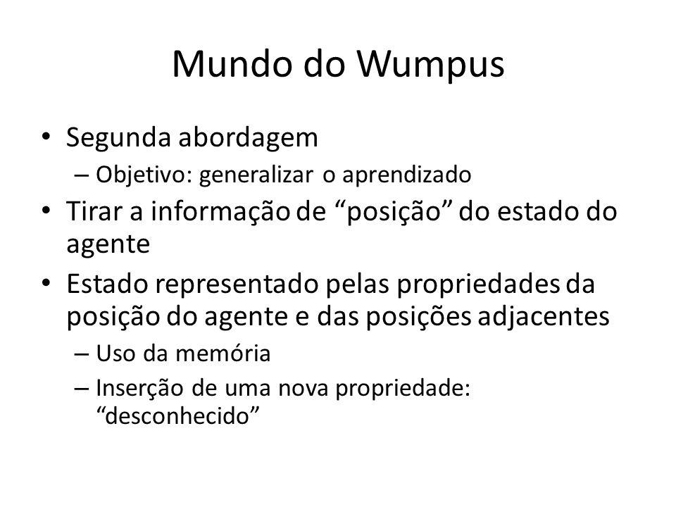 Mundo do Wumpus Segunda abordagem – Objetivo: generalizar o aprendizado Tirar a informação de posição do estado do agente Estado representado pelas pr