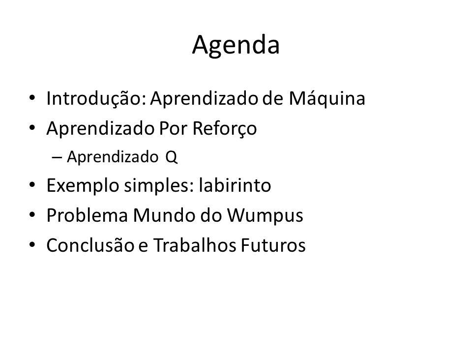 Agenda Introdução: Aprendizado de Máquina Aprendizado Por Reforço – Aprendizado Q Exemplo simples: labirinto Problema Mundo do Wumpus Conclusão e Trabalhos Futuros