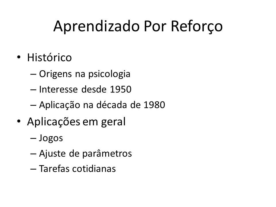 Aprendizado Por Reforço Histórico – Origens na psicologia – Interesse desde 1950 – Aplicação na década de 1980 Aplicações em geral – Jogos – Ajuste de parâmetros – Tarefas cotidianas