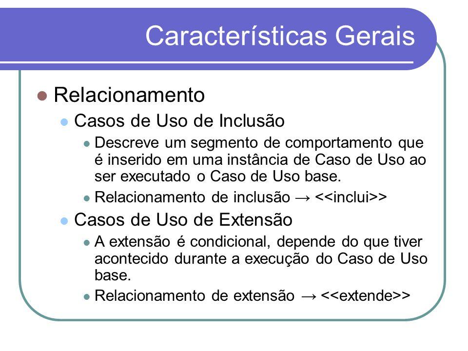 Características Gerais Relacionamento Casos de Uso de Inclusão Descreve um segmento de comportamento que é inserido em uma instância de Caso de Uso ao