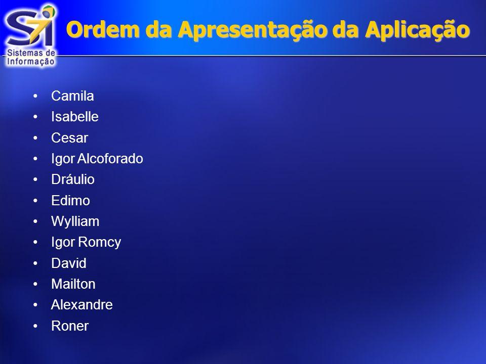 Ordem da Apresentação da Aplicação Camila Isabelle Cesar Igor Alcoforado Dráulio Edimo Wylliam Igor Romcy David Mailton Alexandre Roner