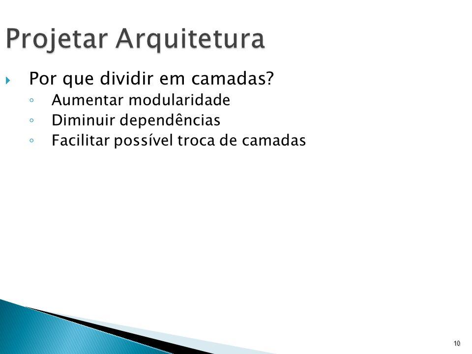 10 Projetar Arquitetura Por que dividir em camadas? Aumentar modularidade Diminuir dependências Facilitar possível troca de camadas