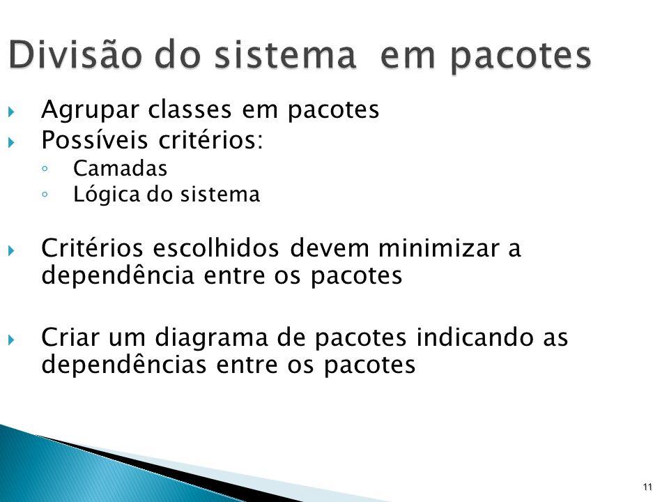 11 Divisão do sistema em pacotes Agrupar classes em pacotes Possíveis critérios: Camadas Lógica do sistema Critérios escolhidos devem minimizar a depe