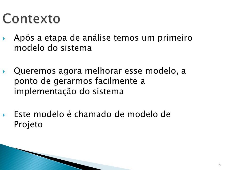 3 Contexto Após a etapa de análise temos um primeiro modelo do sistema Queremos agora melhorar esse modelo, a ponto de gerarmos facilmente a implement