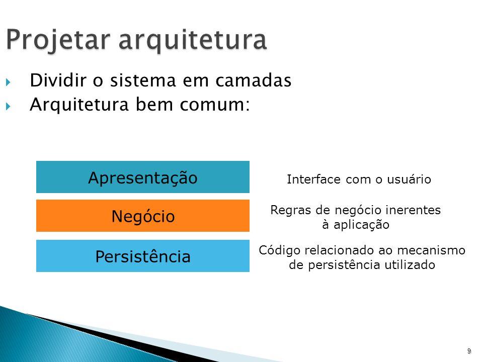 9 Projetar arquitetura Dividir o sistema em camadas Arquitetura bem comum: Apresentação Negócio Persistência Interface com o usuário Regras de negócio