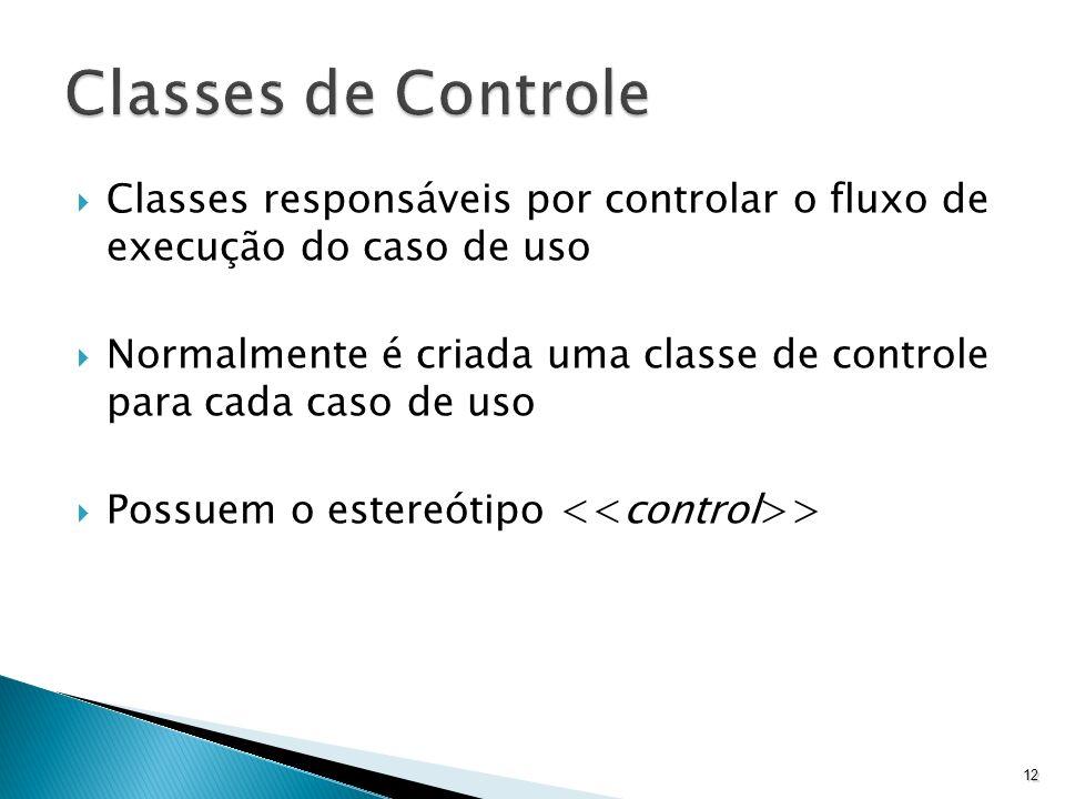 Classes responsáveis por controlar o fluxo de execução do caso de uso Normalmente é criada uma classe de controle para cada caso de uso Possuem o este
