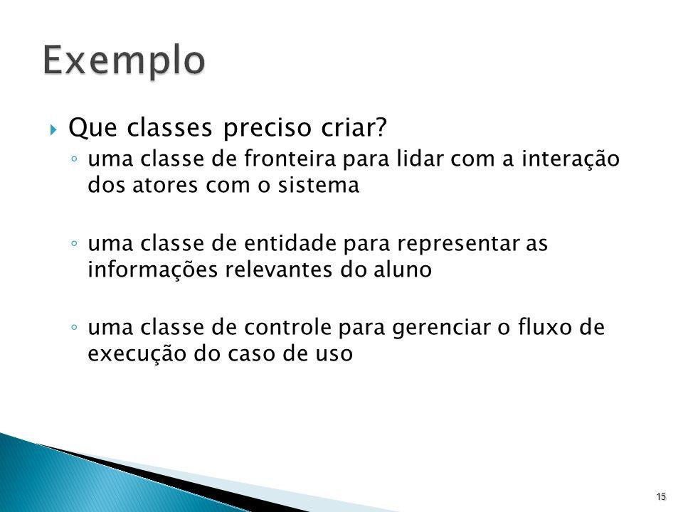Que classes preciso criar? uma classe de fronteira para lidar com a interação dos atores com o sistema uma classe de entidade para representar as info