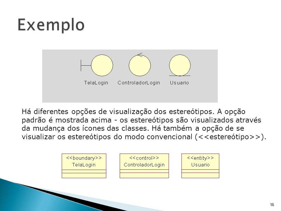 16 Há diferentes opções de visualização dos estereótipos. A opção padrão é mostrada acima - os estereótipos são visualizados através da mudança dos íc
