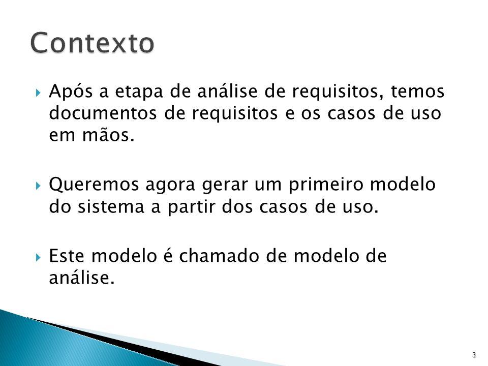 Após a etapa de análise de requisitos, temos documentos de requisitos e os casos de uso em mãos. Queremos agora gerar um primeiro modelo do sistema a