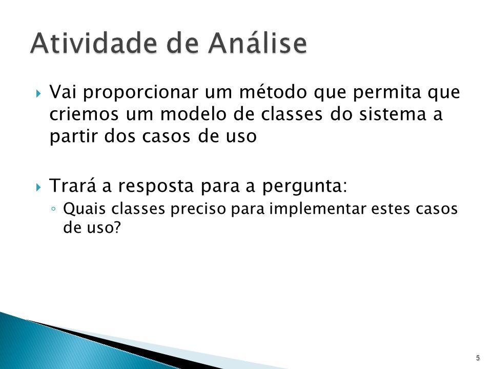 A maneira como vamos realizar a etapa de análise se baseia no processo do RUP (Rational Unified Process) A análise será orientada a casos de uso, ou seja, os casos de uso servirão de guia para a etapa de análise 6