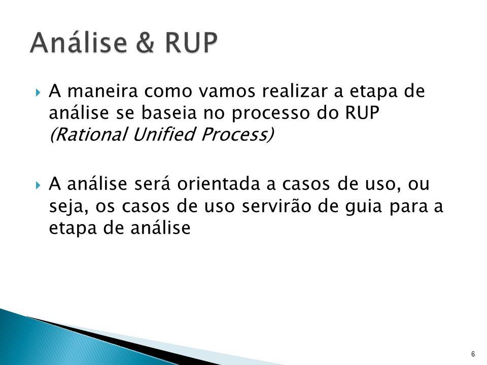 A maneira como vamos realizar a etapa de análise se baseia no processo do RUP (Rational Unified Process) A análise será orientada a casos de uso, ou s