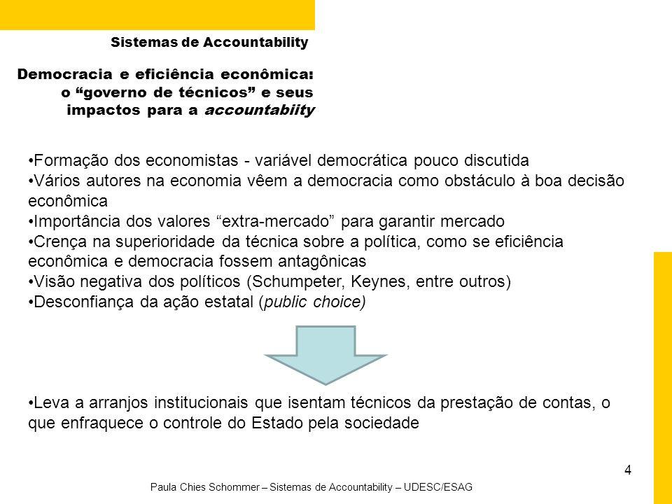 4 Paula Chies Schommer – Sistemas de Accountability – UDESC/ESAG Sistemas de Accountability Formação dos economistas - variável democrática pouco disc