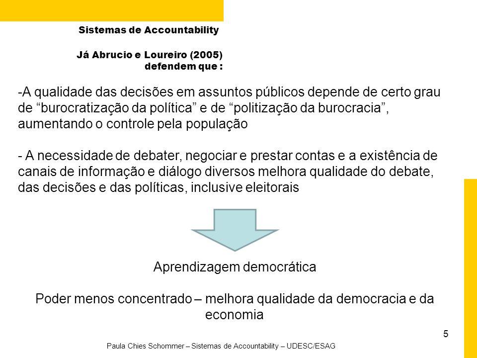 5 Paula Chies Schommer – Sistemas de Accountability – UDESC/ESAG Sistemas de Accountability -A qualidade das decisões em assuntos públicos depende de
