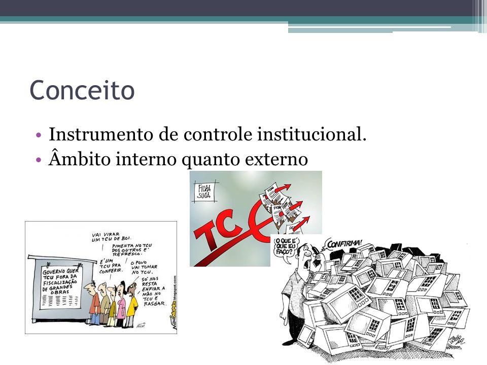Conceito Instrumento de controle institucional. Âmbito interno quanto externo