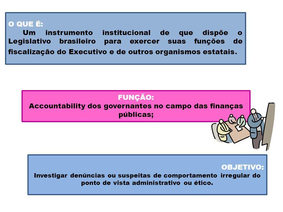 O QUE É: Um instrumento institucional de que dispõe o Legislativo brasileiro para exercer suas funções de fiscalização do Executivo e de outros organi
