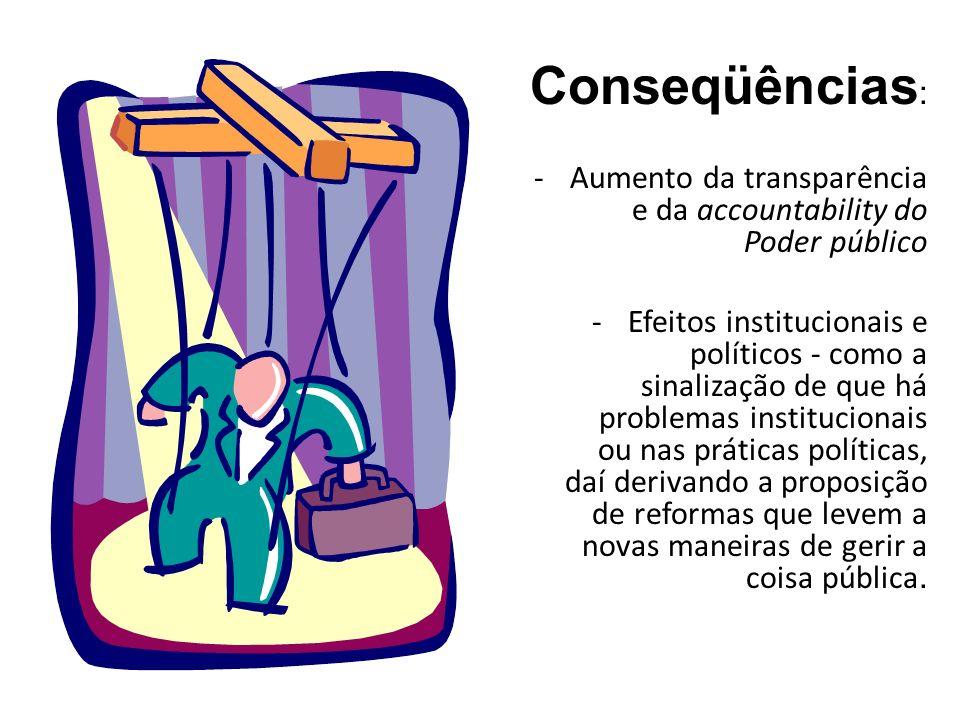 Conseqüências : - Aumento da transparência e da accountability do Poder público - Efeitos institucionais e políticos - como a sinalização de que há pr