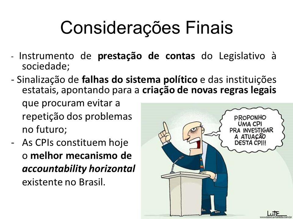 Considerações Finais - Instrumento de prestação de contas do Legislativo à sociedade; - Sinalização de falhas do sistema político e das instituições e