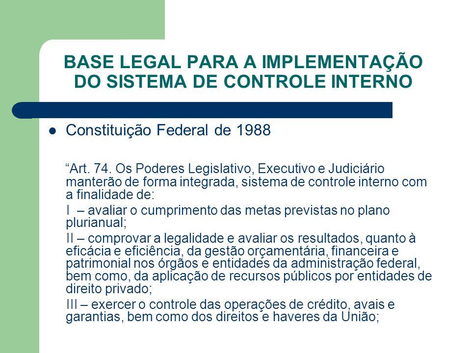 BASE LEGAL PARA A IMPLEMENTAÇÃO DO SISTEMA DE CONTROLE INTERNO Constituição Federal de 1988 Art. 74. Os Poderes Legislativo, Executivo e Judiciário ma
