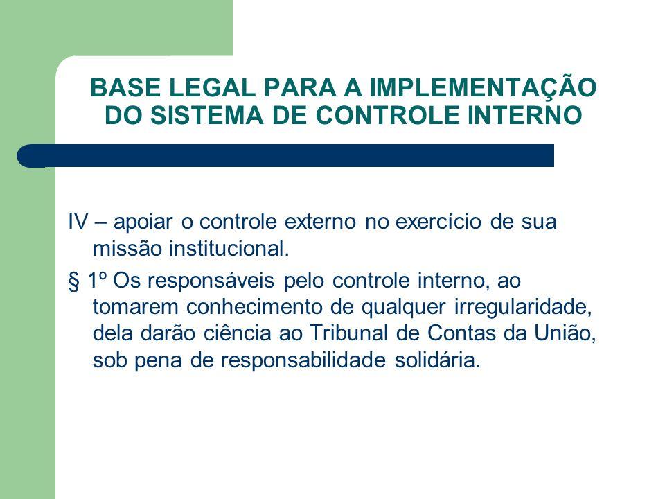 BASE LEGAL PARA A IMPLEMENTAÇÃO DO SISTEMA DE CONTROLE INTERNO IV – apoiar o controle externo no exercício de sua missão institucional. § 1º Os respon