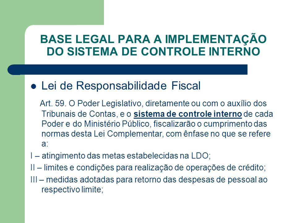 BASE LEGAL PARA A IMPLEMENTAÇÃO DO SISTEMA DE CONTROLE INTERNO Lei de Responsabilidade Fiscal Art. 59. O Poder Legislativo, diretamente ou com o auxíl