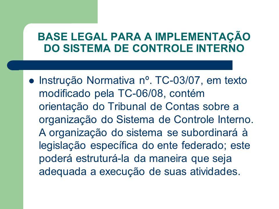 BASE LEGAL PARA A IMPLEMENTAÇÃO DO SISTEMA DE CONTROLE INTERNO Instrução Normativa nº. TC-03/07, em texto modificado pela TC-06/08, contém orientação