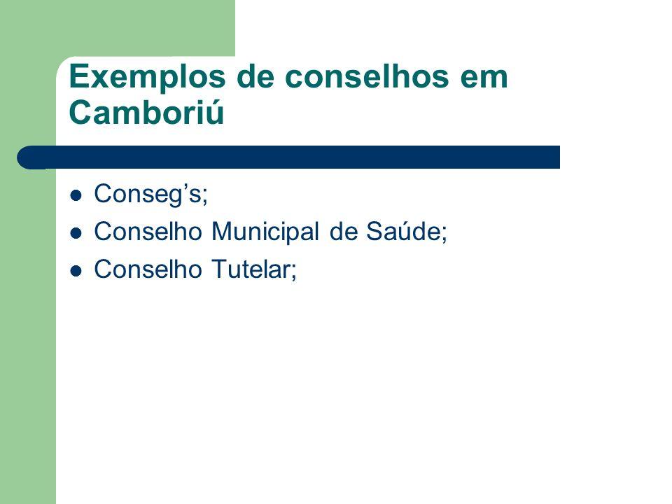 Exemplos de conselhos em Camboriú Consegs; Conselho Municipal de Saúde; Conselho Tutelar;