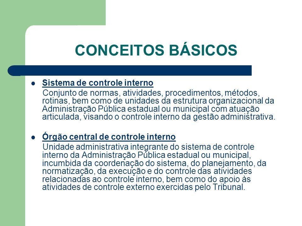 CONCEITOS BÁSICOS Sistema de controle interno Conjunto de normas, atividades, procedimentos, métodos, rotinas, bem como de unidades da estrutura organ