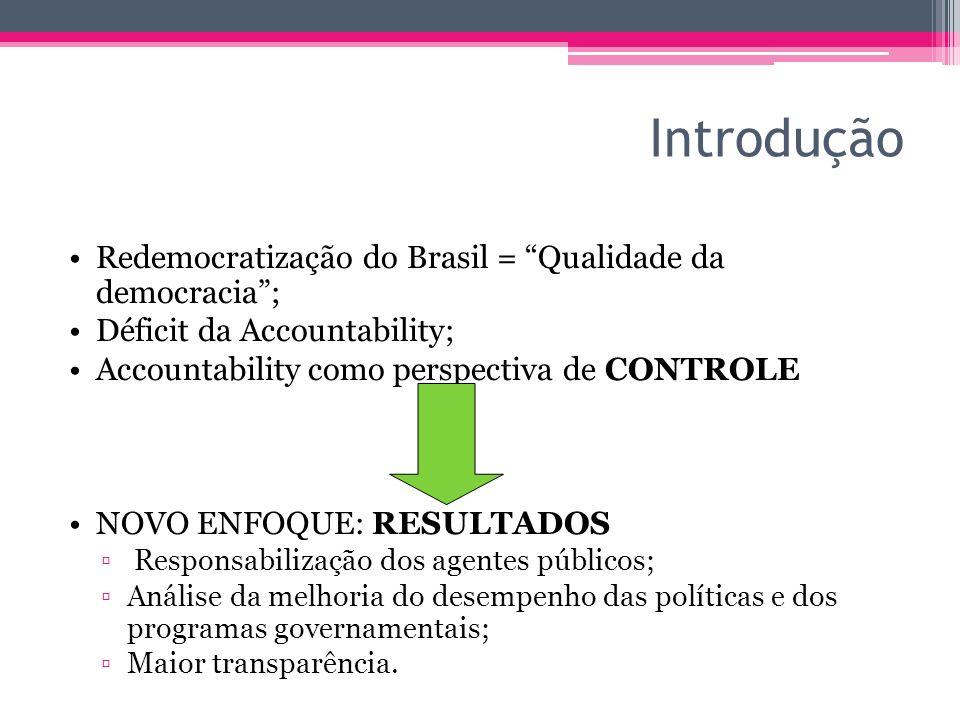 Introdução Redemocratização do Brasil = Qualidade da democracia; Déficit da Accountability; Accountability como perspectiva de CONTROLE NOVO ENFOQUE: