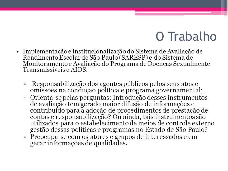 O Trabalho Implementação e institucionalização do Sistema de Avaliação de Rendimento Escolar de São Paulo (SARESP) e do Sistema de Monitoramento e Ava