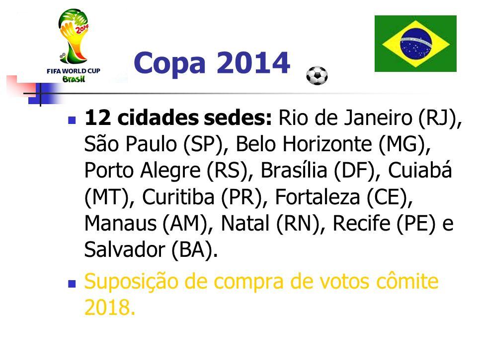 Copa 2014 12 cidades sedes: Rio de Janeiro (RJ), São Paulo (SP), Belo Horizonte (MG), Porto Alegre (RS), Brasília (DF), Cuiabá (MT), Curitiba (PR), Fo