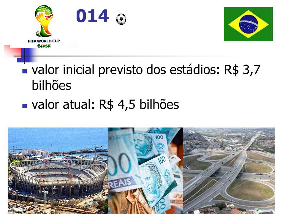 valor inicial previsto dos estádios: R$ 3,7 bilhões valor atual: R$ 4,5 bilhões