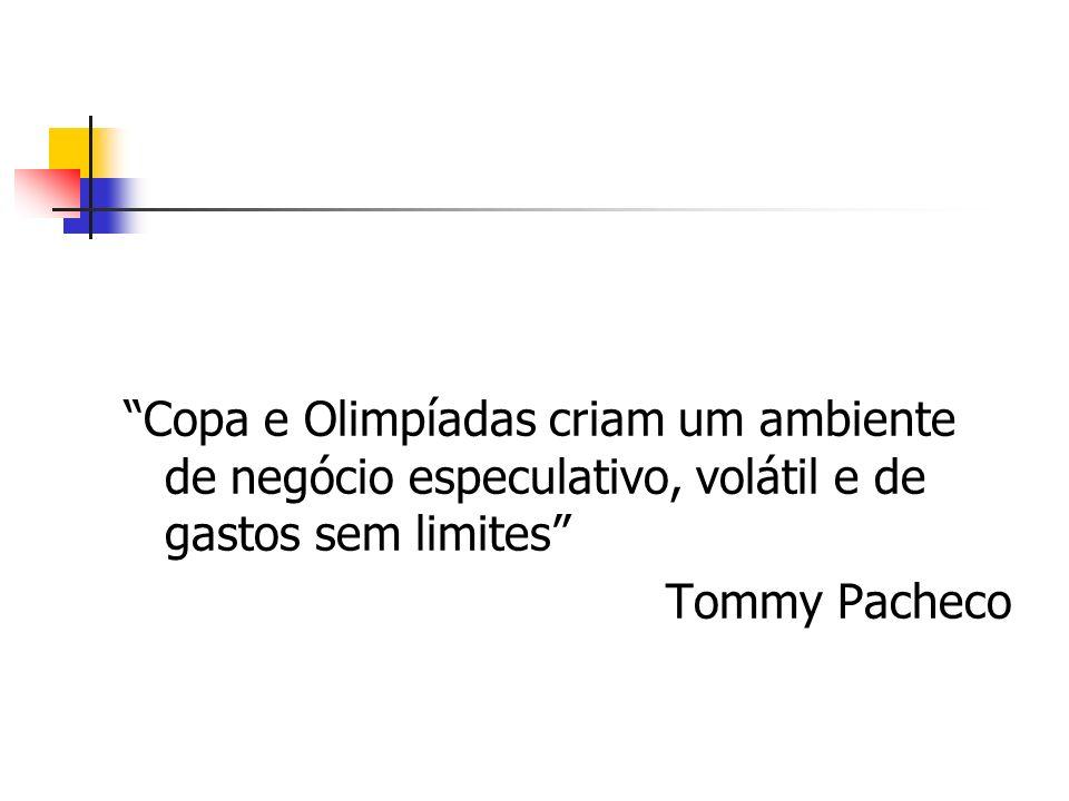 Copa e Olimpíadas criam um ambiente de negócio especulativo, volátil e de gastos sem limites Tommy Pacheco
