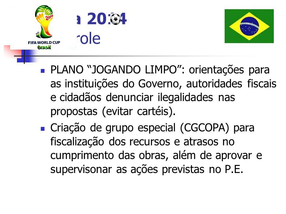 Copa 2014 Controle PLANO JOGANDO LIMPO: orientações para as instituições do Governo, autoridades fiscais e cidadãos denunciar ilegalidades nas propost