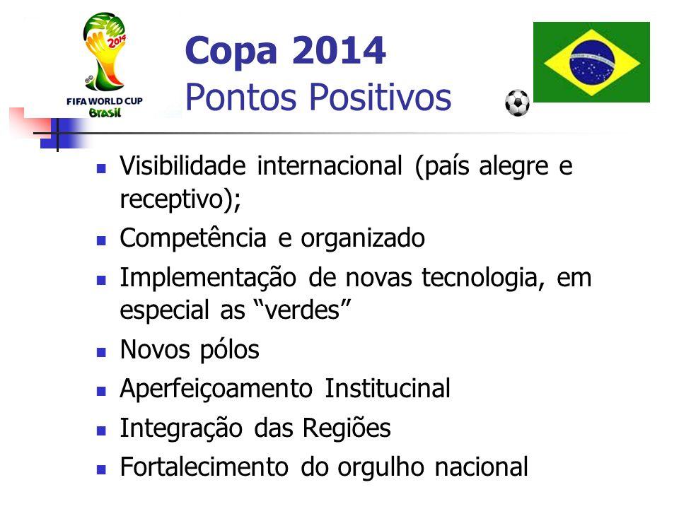 Copa 2014 Pontos Positivos Visibilidade internacional (país alegre e receptivo); Competência e organizado Implementação de novas tecnologia, em especi