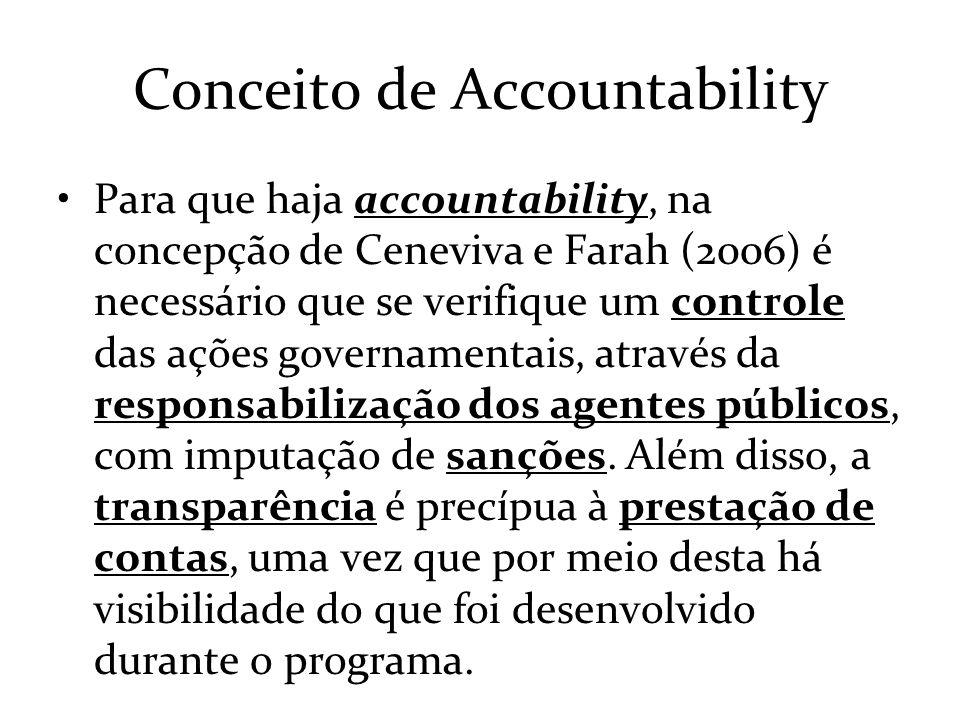 Conceito de Accountability Para que haja accountability, na concepção de Ceneviva e Farah (2006) é necessário que se verifique um controle das ações g