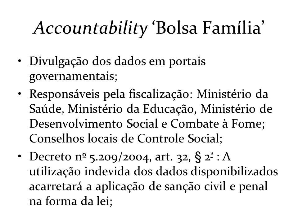 Accountability Bolsa Família Divulgação dos dados em portais governamentais; Responsáveis pela fiscalização: Ministério da Saúde, Ministério da Educaç