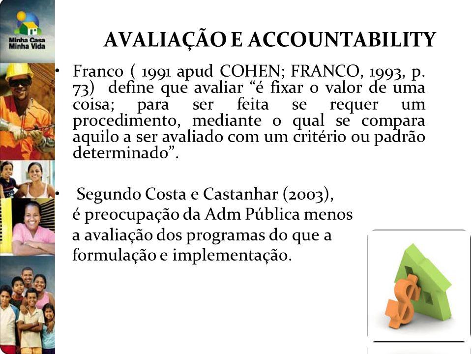 AVALIAÇÃO E ACCOUNTABILITY Franco ( 1991 apud COHEN; FRANCO, 1993, p. 73) define que avaliar é fixar o valor de uma coisa; para ser feita se requer um
