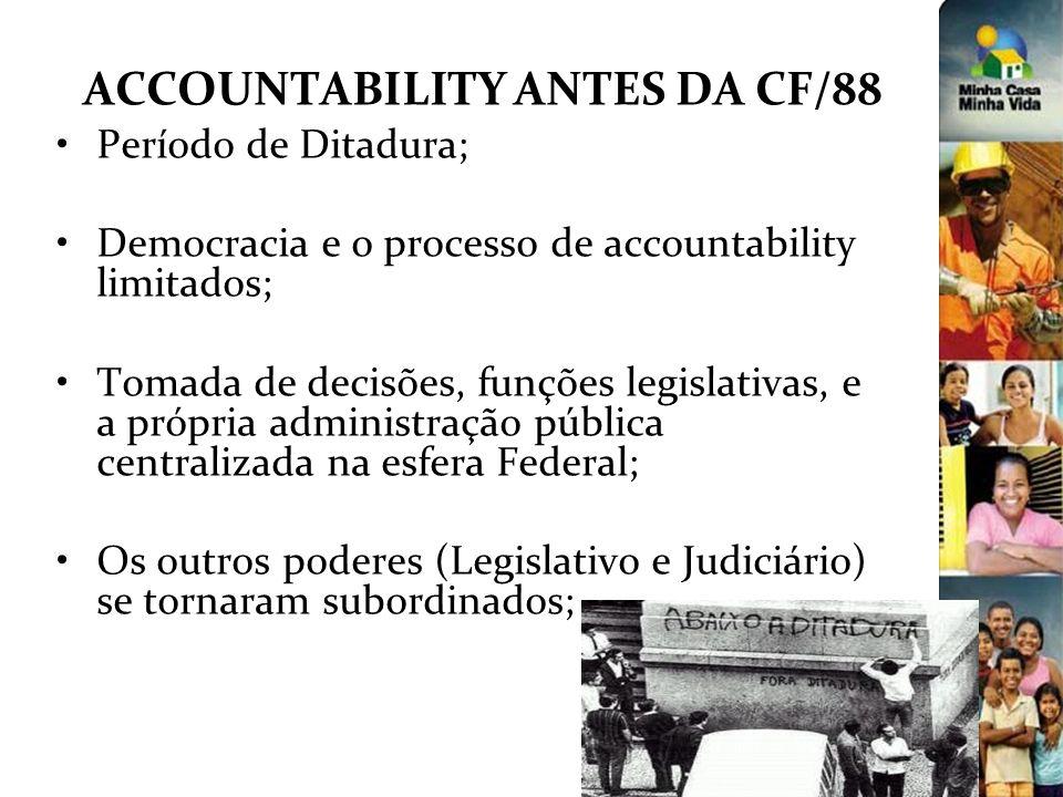 ACCOUNTABILITY ANTES DA CF/88 Período de Ditadura; Democracia e o processo de accountability limitados; Tomada de decisões, funções legislativas, e a