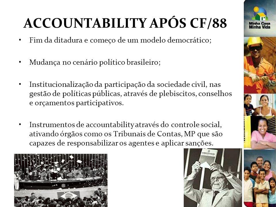 ACCOUNTABILITY APÓS CF/88 Fim da ditadura e começo de um modelo democrático; Mudança no cenário político brasileiro; Institucionalização da participaç