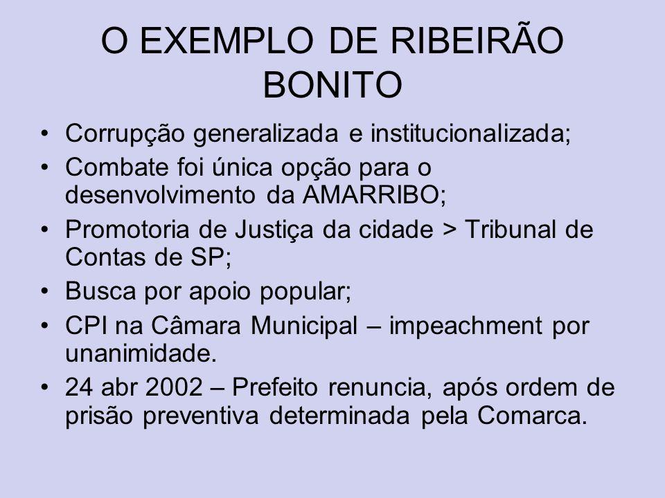 O EXEMPLO DE RIBEIRÃO BONITO Corrupção generalizada e institucionalizada; Combate foi única opção para o desenvolvimento da AMARRIBO; Promotoria de Ju