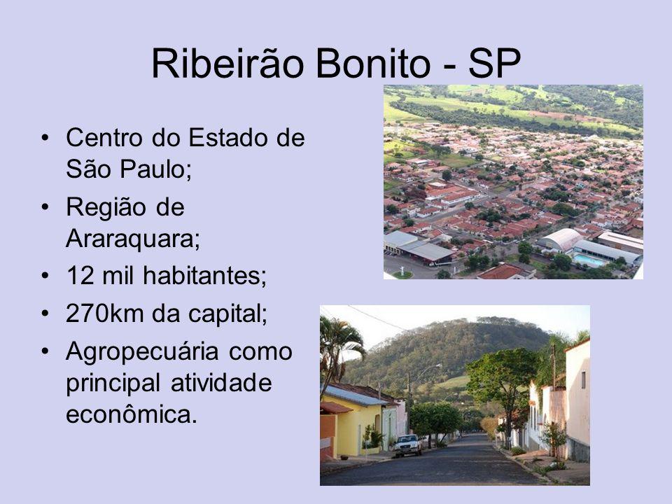 Ribeirão Bonito - SP Centro do Estado de São Paulo; Região de Araraquara; 12 mil habitantes; 270km da capital; Agropecuária como principal atividade e